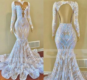 Arabic Aso Ebi Prom Dresses Sequined Lace Long Sleeves Backless ruffles sweep train Mermaid African black girls Evening Dress Wear robes