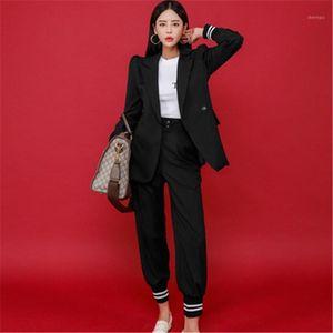 High Quality Casual Women Pant Suits Elegant Notched Collar Single button Blazer Coat&Slim long Pants lady Business Blazer Suit1