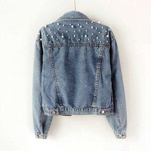 Denim fat mm large women's nail bead inlaid diamond coat girl student light blue jacket loose