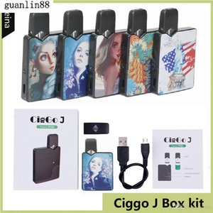 Authentic Ciggo J Box Pod Kit 350mAh Portable Vape Mod Starter Kit with 0.6ml Ceramic Coil Cartridge Compatible Jbox Battery DHL free