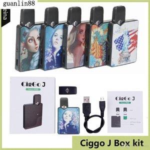 Authentic Ciggo J Box Pod Kit 350mAh Portable Vape Mod Starter Kit with 0.6ml Ceramic Coil Cartridge Compatible Jbox Battery DHL free
