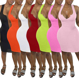 Designers Maxi Vestidos Longas Para Mulheres U-Neck Sem Mangas Long Bodycon Dress Sexy Preto Branco Vestido Dress Club Wear Skirt