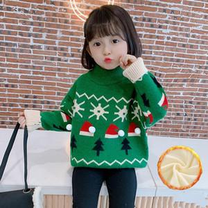 Pullover Girls Sweater Baby's Coat Outwear 2021 Green Plus Velvet Thicken Warm Winter Autumn Knitting Scoop Jacket Children's Clothing