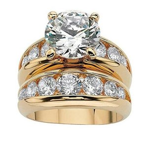 Rulalei Vintage Couple Rings Luxury Jewelry 925 Sterling Silver&Gold Fill Round Cut White Topaz Solitaire Gemstones Eternity Women Wedding Bridal Ring Set Gift