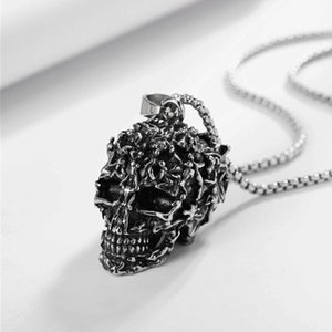 Retro Gothic 316L Stainless Steel Radiated Skull Pendant Necklace Punk Men's Titanium Biker Jewelry Gifts Necklaces