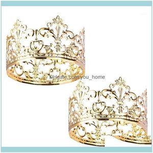 Diğer Festival Parti Malzemeleri Ev Garden2 ADET Altın Zarif Taç Kek Topper Dekorasyon Kral Kraliçe Prens Ve Prenses Temalı Parties1