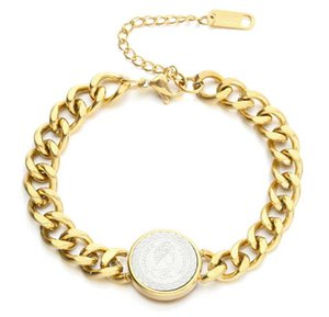 Link, Chain 316L Stainless Steel Gold And Silver Two-tone Cuban Thick Nameplate Hip Hop Bracelet
