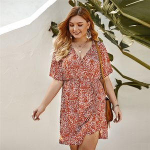 Party Dresses Beach Floral Summer Dress Fat MM Women Red Plus Size Mini Bandage A-Line Short Sleeve Empire V-Neck Oversied Sexy Clothes H98N