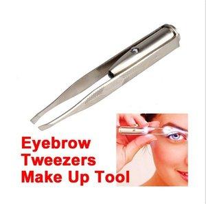 Acero inoxidable LED LIGHT BELLEZA LED Handy Make Up LED Light Eyelash Eyelash Eyebrow Pweezers Holder Clip Tool 413 V2
