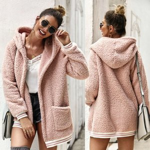 Womens Coat Hoodied Long Sleeve Striped Spliced Plush Thick Warm Solid Color Cardigan Pocket Long Coat 2019 New