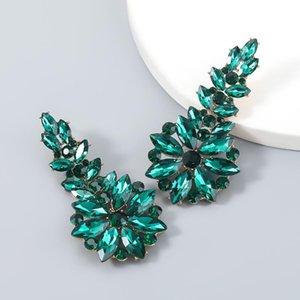 Dangle & Chandelier Vintage Exaggerated Women Deep Green Blue Crystal Rhinestone Pendant Long Drop Earrings For Fashion Jewelry