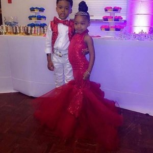 Sparkly Red Sequined Little Girls Pageant Dresses Mermaid Sleeveless Long Kids Formal Wear Flower Girl Dress Brithday Party Graduation Prom Gowns