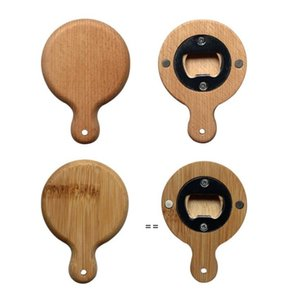 Creative Bamboo Wooden Bottle Opener With Handle Coaster Fridge Magnet Decoration Beer Bottle-Opener HHF10733