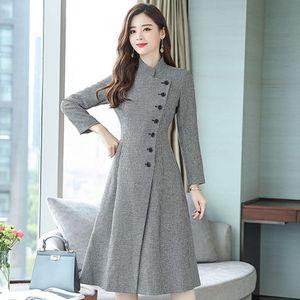 Casual Wool Women's 2020 Autumn Winter New Korean Fashion Long Slim Woolen Stand-up Collar Cashmere Coat Female E206