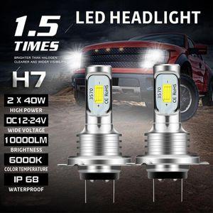 Car Headlights 2PCS H7 LED Headlight Kit 80W 10000LM Hi Or Lo Beam Bulbs 6000K White IP 68 Waterproof Signal Light Accessories Bul