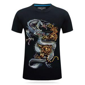 Tiger T Shirt Men Animal Yin Yang Tshirt Dragon 3d Print T-shirt Anime Clothes Funny Punk Rock Mens Clothing Summer Tops