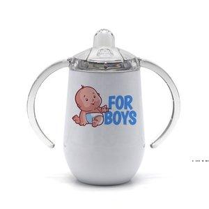 فارغة التسامي tumblers الفولاذ المقاوم للصدأ زجاجة تغذية الطفل مع الحلمة مقبض 10 أوقية نقل الحرارة سيبي أكواب قشر البيض كوب اثنين من البحر HWC7397