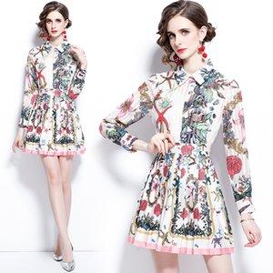 Menina boutique conjunto camisa + saia longa manga plissada tendência 2021 verão outono mulheres dois pedaço conjunto de fashion fashion therits