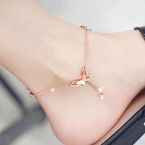 Modyle Sweet Sweet Simple Butterfly Forme Bracelet Ankelet Gold Silver Color Chain Beach Foot Sandal pour femmes Cadeau