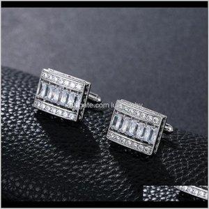 Cuff Links Cufflinks Tie Clasps Tacks Jewelry Drop Delivery 2021 Weimanjingdian Brand Arrival Exquisite Cubic Zirconia Rec Shape Cufflink For