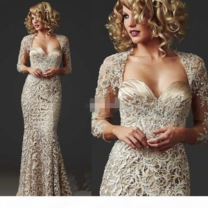 2021 Vintage Full Lace Long Mermaid Prom Dresses Long Sleeve with Beads Formal Evening Gowns Custom Made