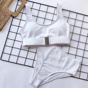2021 High Waist Swimwear Bandeau Push Up Bikini Set Buckle Bathing Suit Beach Wear Swimming 2 Piece Swimsuit Women 04