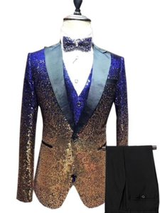 Mens Suit 3 Pieces sequin Suit Silm Fit One Button Tuxedo for Party, Wedding, Banquet, Prom, Nightclub (Blazer+Vest+Pant)