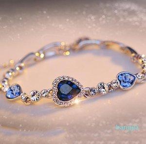 6 farben elegante form frauen kristall armband plattieren herzform anhänger armbänder für mädchen nettes geschenk multi stil großhandel