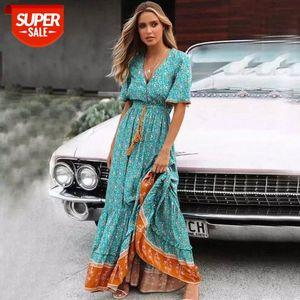 Blus Floral Maxi Dress Vollo con scollo a V bottone in pizzo Trim 2021 Primavera Estate nappa Tied Vita Lunga Donne Abiti # Yi5z