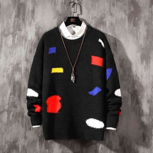 2021 New Male streetwear retro standard hip hop flame fall pull over elastan the neck oversize casual couple sweaters 7MV5