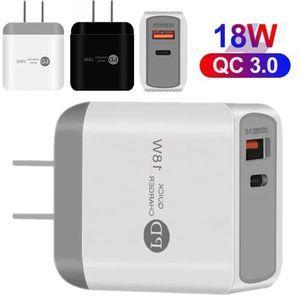 Fast Quick PD Type C Зарядное устройство EU US US UK Adapter 18W QC3.0 USB Настенное зарядное устройство для iPhone Samsung Samsung Tablet PC