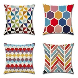 Cushion Covers Decorative Linen Throw Pillow Case Sofa Car Pillowcase for Home Bed Decor 45 x 45cm,Set of 4 R97T 2CRS