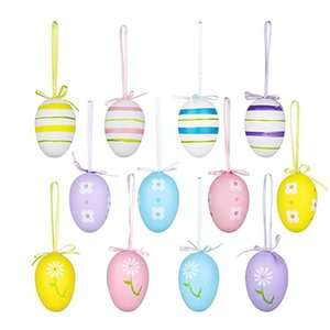 12pcs 6*4cm Plastic Easter Eggs Hanging Ornament Kids Toy DIY Crafts Painting Foam Egg For Party Home Decoration Supplies Mats & Pads