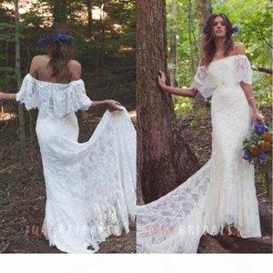 2019 Cheap Boho Off-Shoulder Sheath Scalloped Lace Wedding Dresses With Long Train Romantic Beach Bohemian Bridal Gowns