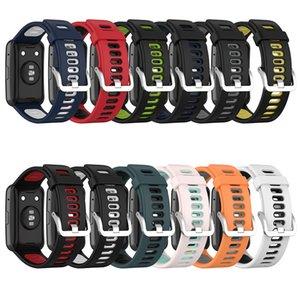 Sangles de remplacement de silicone doux Bande de boucle Deux couleurs pour Huawei Watch Fit (TIA-B09 / TIA-B19) Bracelet de bracelet de sport avec outils