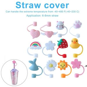 Creative Silicone Straw Tips Cover Reusable Drinking Dust Cap Splash Proof Plugs Lids Anti-dust Tip Sunflower Cherry Blossom Rainbow EWF9135