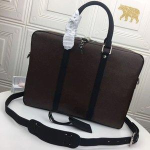M52005 N41466 نصوص صغيرة Luxurys الرحلات جلد الأعمال حقائب اليد رجل الكتف حقيبة كمبيوتر محمول حقيبة الأزياء رحلة ملف crossbody