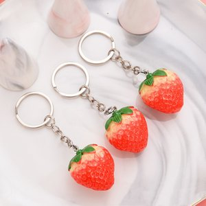 Fruit Key Ring Little Strawberry Keychain Party Cute KeyRing For Women Jewelry Girls' Gift Kids Friends GiftS GWE8223