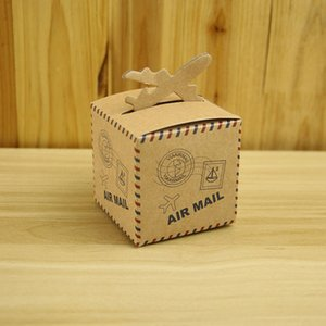 Vintage Kraft Paper Candy Boxes Air Mail Airplane Pattern Favor Holder Wedding Birthday Baby Shower Party Supplies Gift Box