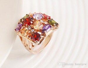 Pretty Ring Beautifully Luxury Diamond Rose Gold Plated Cubic Zirconia Wedding Ring Set Austrian Crystal Gemstone Rings