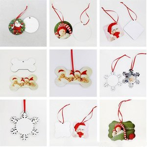 MDF Sublimation Blank Christmas Decorations Round Square Snow Shape Ornaments Thermal Transfer Printing Tree Pendant Decors DHL Free Delivery