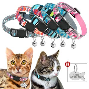 Quick Release Cat Collar With Bell Personalized Kitten Collar Breakaway Cats Safety Necklace Free Engraved Fish ID Tag Nameplate