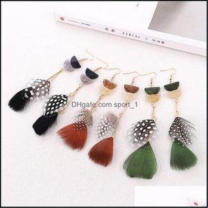 & Chandelier Jewelrygeometry Acrylic Bohemian Colorf Earring Long Feather Tassel Dangle Earrings For Women 6 Colors Drop Delivery 2021 Fhvdg