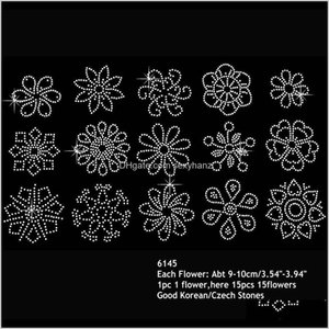 Sewing Notions Tools Apparel Drop Delivery 2021 Kinds Of Flowers Rhinestone Iron On Heat Transfers Hofix Motif Small Flower Design 60Pcslot T