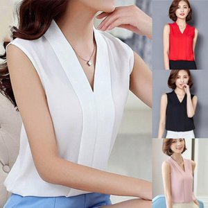 Women's Blouses & Shirts Women Brief Office Work Wear V Neck Sleeveless Chiffon Casual Tops Blusas Mujer De Moda 2021 Solid Color Ladies Top