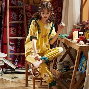 Women Sleepwear Sale Cotton Pajamas Sets For Stylish Cartoon Pijamas Long Sleeves Pans Ladies Cute Pyjamas Casual Homewear