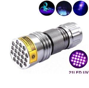 100pcs-New UV Ultra Violet 21 LED Flashlight Mini Blacklight Aluminum Torch Light Lamp