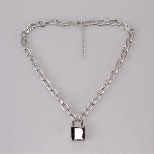 Blocco classico 1 set = 1 catena + 1 lock + 1 tasti hip-hop serratura collana pendente collana in oro argento lucchetto collana con chiave 417 Q2