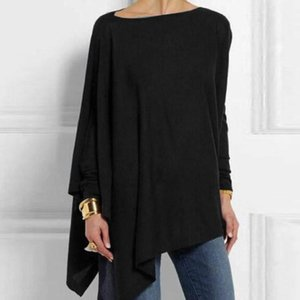 Women's Long-Sleeved Irregular Solid Color Hedging Spring And Autumn T-Shirt Casual Loose Large Size Simple Style