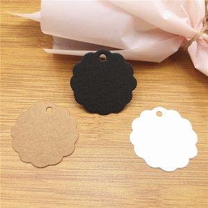 Kraft Paper Labels Wedding Etiquette Thank You Lace Flower Shape Hang Tags Blank DIY For Clothing Party Decoration 100Pcs Lot